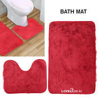 SOFT SHAGGY DESIGN BATH MAT SET Non Slip Pedestal Mat Toilet Bathroom Rugs Red