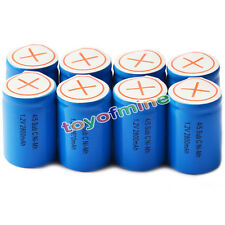 8x Ni-Mh 4/5 SubC Sub C 1.2V 2800mAh Rechargeable Battery with Tab Blue
