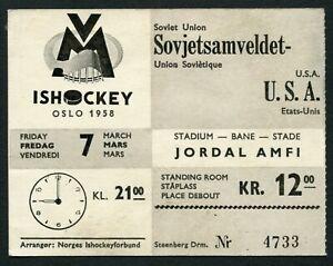 Norway Ice Hockey World Championships Oslo 1958 ticket USSR vs USA !!!