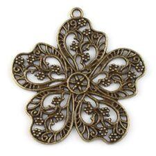 5x 142717 Antique Bronze Nets Flowers Charms Alloy Pendants Findings