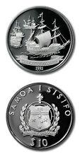 Western Samoa Fleet of Roggeveen $10 1992 Proof Silver Crown