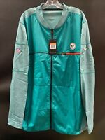 MIAMI DOLPHINS TEAM ISSUED THROWBACK FULL ZIPER TRAVEL WARM UP JACKET NEW! 3XL