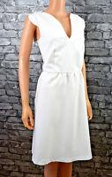 Women's Pretty White Sleeveless V-neck Pencil Bodycon Midi Dress UK Size 12