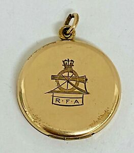 ANTIQUE ROYAL FIELD ARTILLERY ROLLED GOLD LOCKET WITH INITIAL M DECORATION