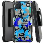 Holster Case For LG K92 5G (2020) Kickstand Phone Cover - BLUE STYLISH CAMO