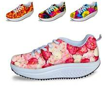 Floral New Women's Shape Ups Toning Fitness Walking  Shoe Sneaker Platform Shoes