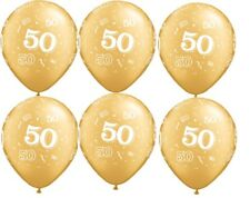 "50th Birthday Anniversary 6 ct Gold 11"" Balloon Qualatex 50 Decorations Supplies"