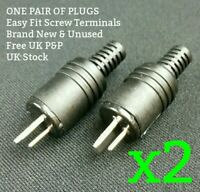 2-Pin DIN Speaker Plug x2 PAIR NEW Easy Fit Screw Terminal Male HiFi Vintage