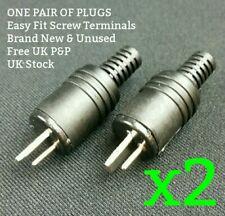 2-Pin DIN Speaker Plug x2 PAIR NEW Easy Fit Screw Terminal Male HiFi Vintage