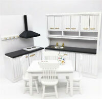 1:12 Dollhouse Miniature Furniture Wooden Kitchen Cabinet Table Cupboard Set