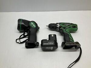 Hitachi DS 12DVF3 12V 3/8 Driver Drill Kit With Flashlight & Battery