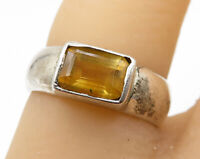 925 Sterling Silver- Vintage Modest Citrine Faceted Band Ring Sz 5 - R4324
