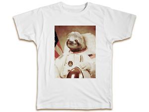 Space Sloth T-Shirt Astronaut Men Women Funny Animals Birthday Gift Present