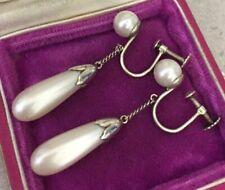 vintage Art deco Jewellery Delightful Glass Pearl Pendant Earrings Screw Backs