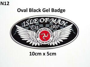 Isle of Man Road Racing Oval Black Gel Badge Sticker 10cm x 5cm