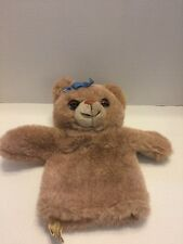 "Vintage Applause Hand Puppet Teddy Bear Plush 11"" Real Like Eyelashes Brown Fur"