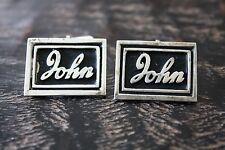Vintage Estate 925 Sterling Silver Large Monogrammed JOHN Signed Cufflinks 16.6g
