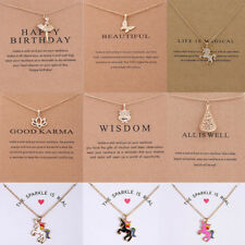 Fashion Woman Gold Plated Unicorn Owl Pendant Charm Clavicle Chain Necklace Gift