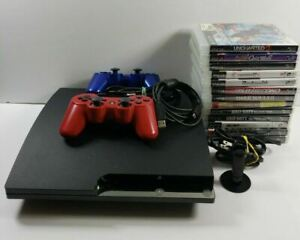 Sony PlayStation 3 2001A 120GB Slim PS3 Console 2 Controllers 13 Games Mic Lot