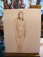 Aquarelle Nu de Femme debout  par André Simon 1926-2014 2004 Artiste Lorrain