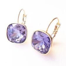 Tanzanite Purple Crystal Golden Drop Earrings w/ Cushion Cut Swarovski Prom Gift