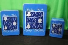 "Set Of 4 Blue ""Merry Christmas"" Tins Santa Claus Reindeer Decorative Collectible"