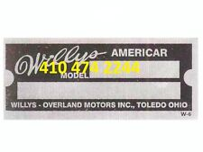 STAMPED Willys  Americar DATA PLATE SERIAL NUMBER ID TAG VIN