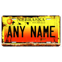 US Metal License Plate - Nebraska V3 Rusted, Personalise your own plate