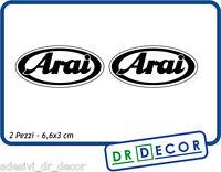 "2 Adesivi in vinile ""Arai"" per moto, casco ecc. 6,6x3 cm"