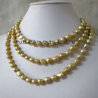 "50"" 6-8mm Champagne Baroque Freshwater Pearl Necklace Z U"