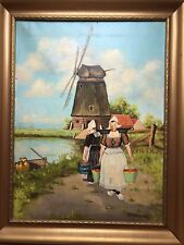 Vtg Dutch Windmill Ladies Carrying Pails H Wermeester Holland Oil Painting Frame