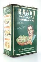 Bravo Olio Vegetale Vegetable Oil Vintage Tin Container Toronto Canada S289