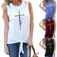 Plus Size Womens Sleeveless T-Shirt Summer Beach Casual Tank Tops Loose Blouse