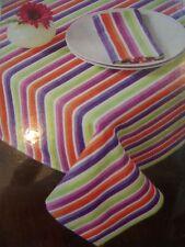 "Living Quarters New 60""x102"" Tablecloth multi-color striped summer samba cotton"