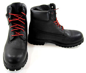 Timberland Boots 6 Inch Premium Textured Leather Black/Red Shoes Size 8.5