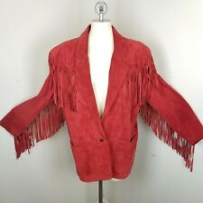 Vintage Winlit Womens Large Western Red Fringe Leather Jacket Long Coat