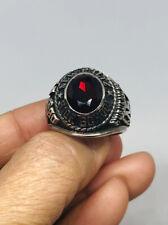 1980 New Paltz, High School Mens .925 Sterling Silver Red Ruby Ring Sz 9.5-17.5g