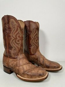 Men's Lucchese Giant Alligator Boots Roy Brown Genuine Size 9 CL1073.WF