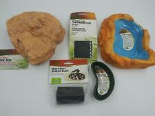 New listing Zilla Reptile Kit water dish food dish screen clip thermometer Rock Den Small