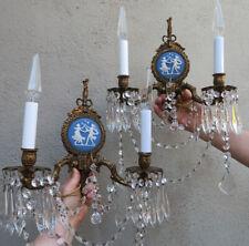 2 Blue Wedgwood Porcelain Plaque brass crystal sconce