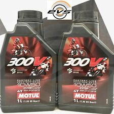 2 Litri Motul 300V² 10W50 4T 100% Sintetico Estere Core Olio Motore Moto Racing