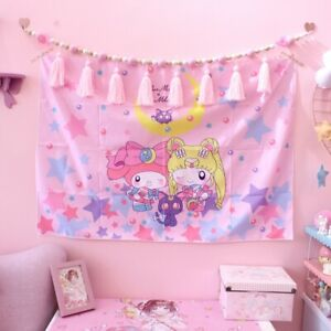 Anime Sailor Moon Pink Wall Decor for  Bedroom Hanging Tapestry Decor Tablecloth