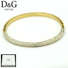 "DG Women's 6.5"" Gold Stainless Steel 4mm Cuff Bangle CZ Bracelet Unisex*Box"