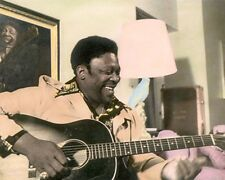 "RILEY B ""BB"" KING AFRICAN AMERICAN BLUES GUITARIST 8x10"" HAND COLOR TINTED PHOTO"