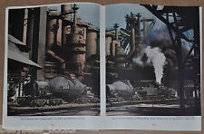1947 magazine article about STEEL, production, usage, iron ore, color photos