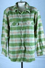 Field & Stream Green Beige Button Front Winter Sweater Shirt Size Large 12 14