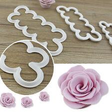 3Pcs 3D Der einfachste Rose überhaupt Cutter Fondant-Form Sugarcraft Decor Mould