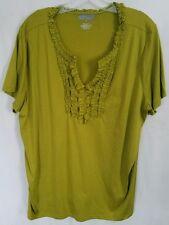 Lane Bryant plus size 2X green ruffle front v-neckline shirt top blouse NEW!