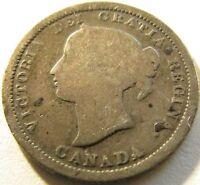1870 Flat Rim Canada Silver 5 Cents - KM# 2