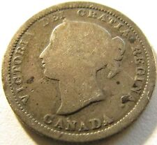 1870 Flat Rim Canada Silver 5 Cents - KM# 2 - Free Shipping